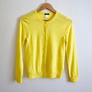 J. Crew Neon Yellow Jeweled Button Cardigan